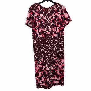 Eva Mendes Womens Polka Dot Sheath Dress Large